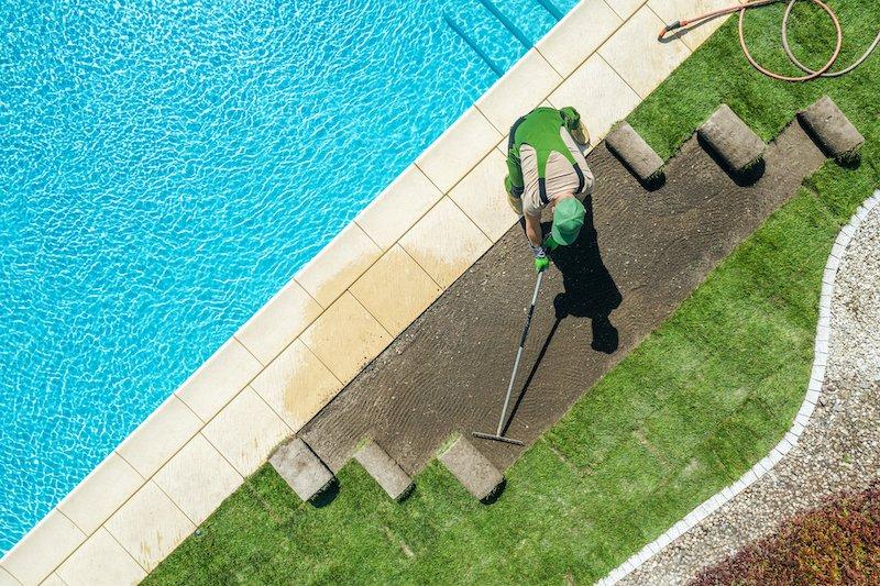 végétation autour de la piscine